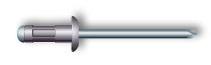 Заклепка вытяжная, многозажимная, стандартный бортик (алюминий/нержавеющая сталь)