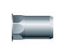 Заклепка резьбовая, шестигранная 1/2, уменьшенный бортик (нержавеющая сталь)